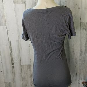 American Eagle Tops - AMERICAN EAGLE Gray V-neck Tee with Bleach Spots L